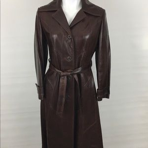 Vintage SKIN GEAR Tan Leather Long Trench Coat